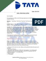 Fake Tata job interview call letter