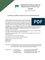 II SNCESF - Seminário Nacional Cigré de Energia Solar Fotovoltaica