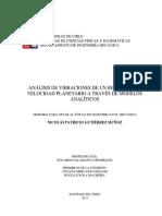 Analisis de Vibraciones de Un Reductor de Velocidad Planetario a Traves de Modelos Analiticos
