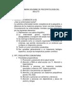 Tips Para Primera Solemne de Psicopatología Del Adulto Con Respuestas
