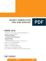[Bizcom 2018]Final Exam Guidelines and Schedule Final