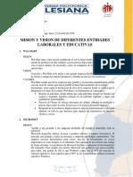 Mision Vision y Valores de Entidades Laborales e Institucionales