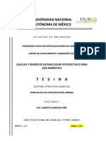 Cálculo y Diseño de Sistema Solar Fotovoltaico Para Uso Doméstico Sistema Fotovoltaico Interconectado a Cfe