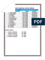 Daftar Harga Kios Reza