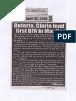 Peoples Journal, Apr. 22, 2019, Duterte, Gloria lead first BFA in Manila.pdf