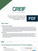 Greif Q4 2017 Earnings Deck FINAL