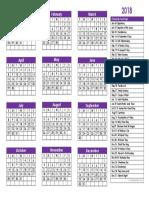 2018 Christian Calendar