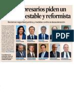 Los empresarios piden un Gobierno estable y reformista