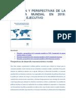 Situación y Perspectivas de La Economía Mundial en 2019