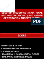 Security Discourse ( Traditional and Non Traditional) and Nature of Terrorism Threats in India