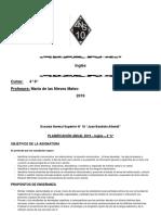 2019 ENS N° 10 Planificación 4°6° INGLES Prof MATEO