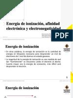 Energía de Ionización, Afinidad Electrónica y Electronegatividad