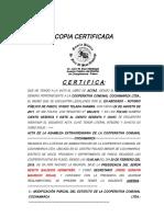 Copia Certificada Modificacion de Estatuto