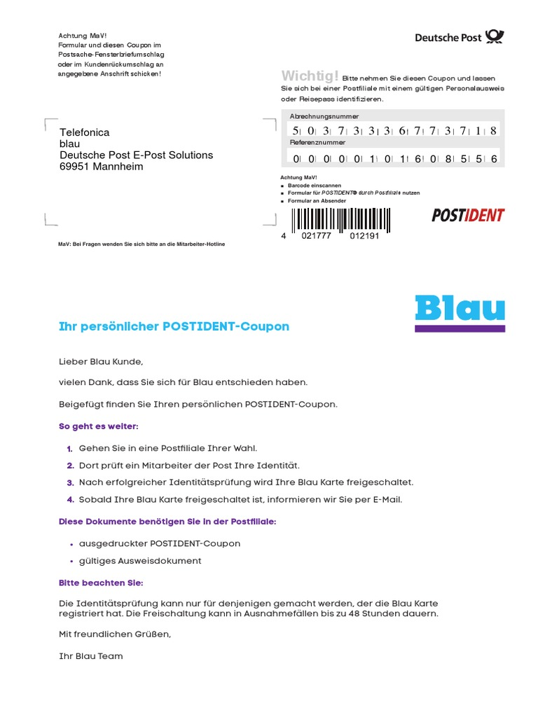 Postident Coupon Online