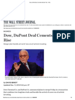 Dow, DuPont Deal Cements Activists' Rise - WSJ
