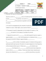 Sound revision worksheet