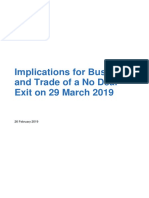 Implications for Business and Trade of a No Deal Exit on 29 March 2019