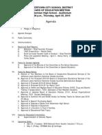 Watertown City School District Board of Education agenda April 25, 2019
