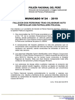 COMUNICADO PNP N° 24 - 2019