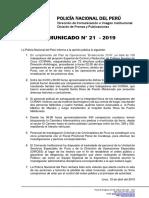 COMUNICADO PNP N° 21 - 2019
