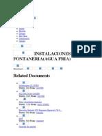 INSTALACIONES DE FONTANERIA(AGUA FRIA)