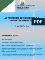 As Primeiras Leis Escritas e o Código de Hamurabi SLIDE