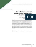 Da deficiência mental à dificuldade intelectual