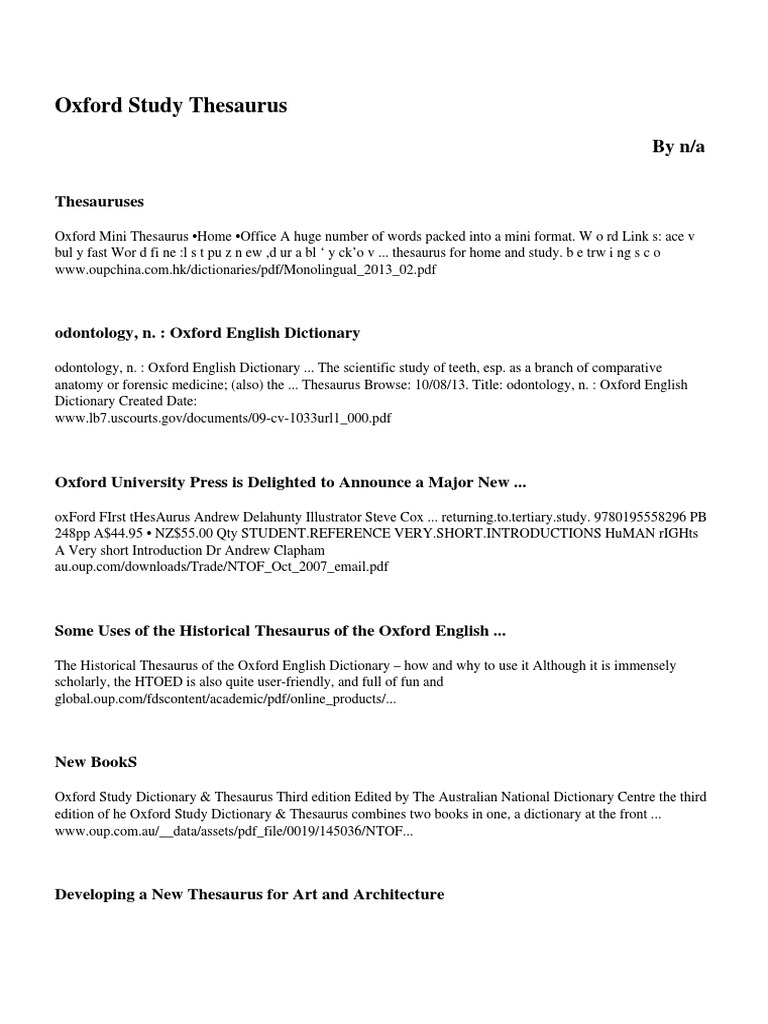 Oxford Study Thesaurus Oxford University Press Dictionary