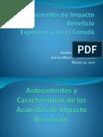Jm30032017 Acuerdo de Impacto Beneficio Experiencia en El CANADA