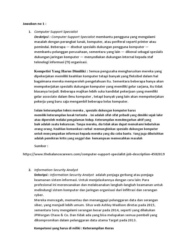 Deskripsi Computer Support Specialist Membantu Pengguna Yang Mengalami