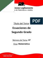 47_Ecuaciones de Segundo Grado - Ediciones Logikamente