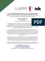 Convocatoria n°XVI Revista Raíces de Expresión