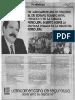 Edgard Romero Nava - Latinoamericana de Seguros - Diario de Caracas 29 Abril 1984