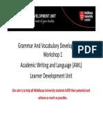 Grammar and Vocabulary 1 PPT