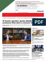 El Frente Opositor Ajusta Detalles y en Los Próximos Días Dará a Conocer La Fórmula - Diario La Mañana