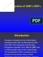 Irish Immigration of 1840's-1850's