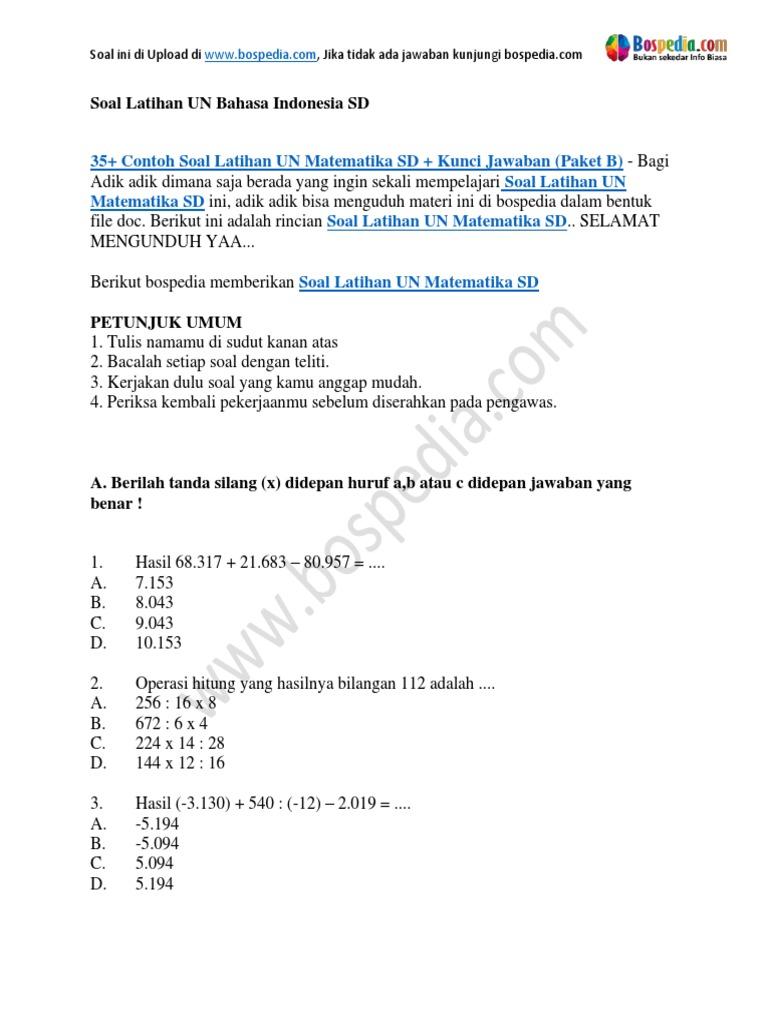 35 Contoh Soal Latihan Un Matematika Sd Kunci Jawaban Paket B Docx