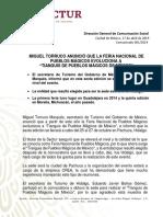 COMUNICADO SECTUR 061.- MIGUEL TORRUCO ANUNCIÓ QUE LA FERIA NACIONAL DE PUEBLOS MÁGICOS EVOLUCIONA A TIANGUIS DE PUEBLOS MÁGICOS DE MÉXICO