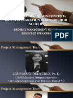 Project Management Team and Resource Speakers
