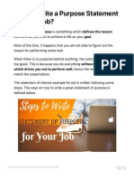 How to Write a Purpose Statement for Your Job