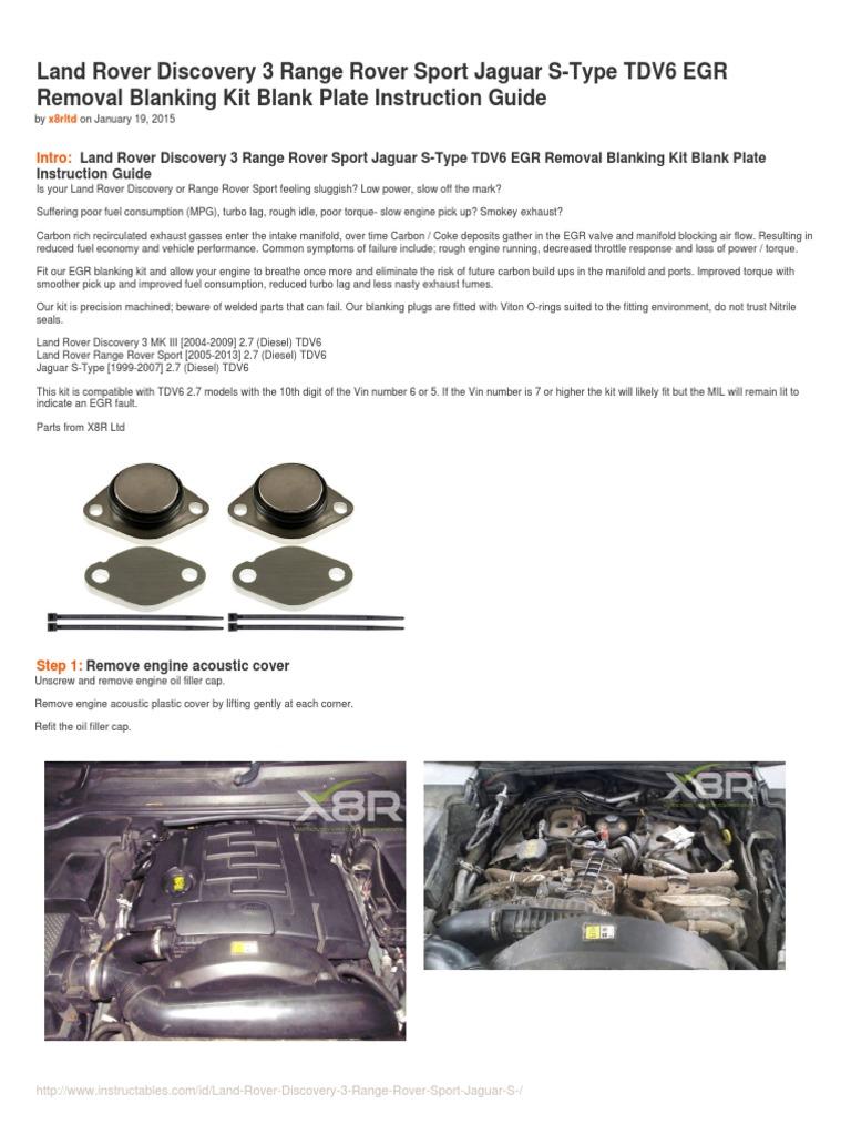 Range Rover Sport TDV6 2.7 EGR Removal Blanks Kit Remove Blanking Blank Plates