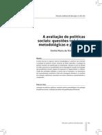 A avaliação de políticas sociais questões teóricas, metodológicas e políticas