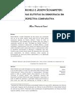 Marcos Vinícius Castro MICHELS E SCHUMPETER - DUAS TEORIAS ELITISTAS DA DEMOCRACIA EM PERSPECTIVA COMPARATIVA