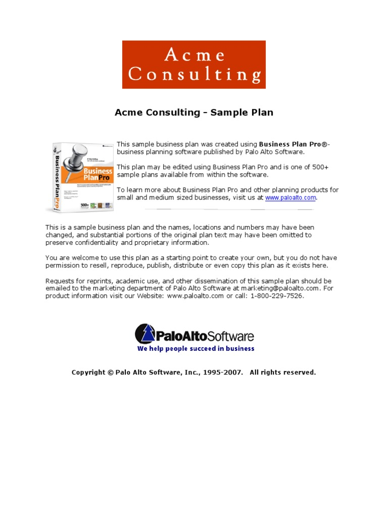 marketing consultant business plan