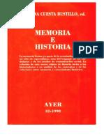 Cuesta Josefina. Memoria e Historia, Un Estado de La Cuestión