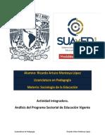 Actividad Integradora. Análisis Del Programa Sectorial de Educación Vigente