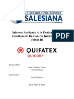 Informe de Control Interno Quifatex S.A