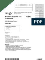 Unit 7 Business Finance - Specimen Question Paper