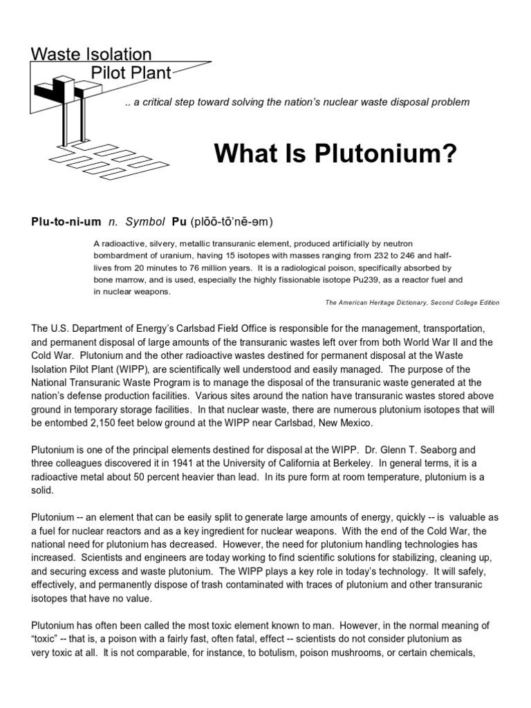 What Is Plutonium Fact Sheet Plutonium Radioactive Waste