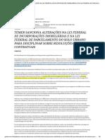 ALTERAÇÕES NA LEI FEDERAL DE INCORPORAÇÕES IMOBILIÁRIAS